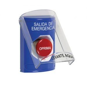 Blue Turn-to-Reset Button with shiel sound (STI-6517A) EMERGENCY EXIT label