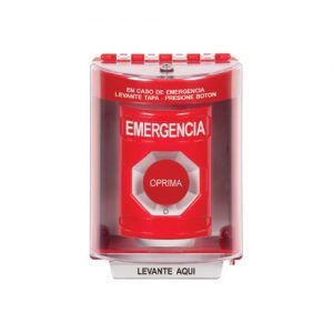 Turn-to-Reset Red Button with Universal Stopper surface with horn (STI-13220)Emergency Label Spanish