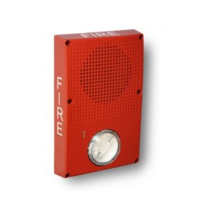 Outdoor Rated Wall/Ceiling Horn/strobe, RED w/FIRE marking, High Output Strobe, Clear Lens
